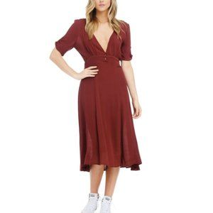 ANAMA Burgundy Maroon Red Midi Peasant Boho Dress